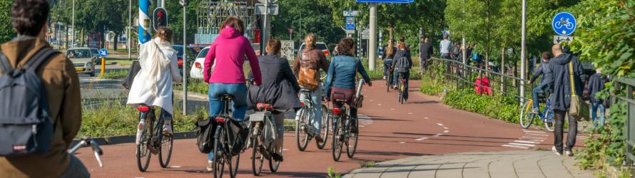 Fietsers bij station Heyendaal.