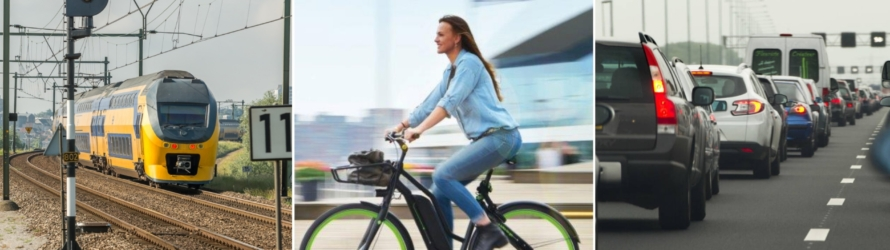 fiets trein auto