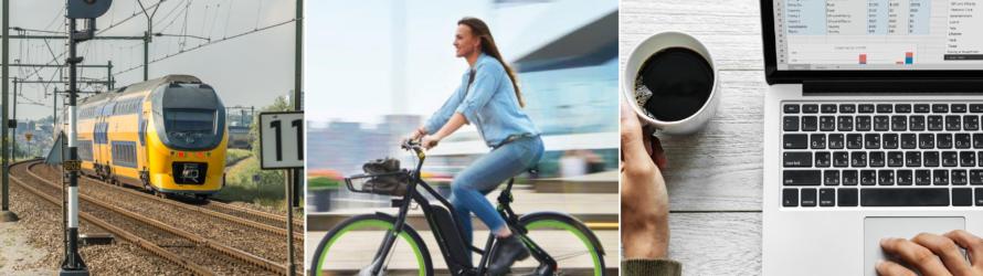 fiets trein thuiswerk